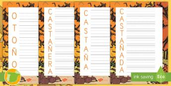 Acróstico: La castañada  - otoño, fiestas, tradiciones, castañas, castañera,Spanish