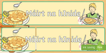 Pancake Tuesday Display Banner Gaeilge - pancake day, pancake tuesday, shrove tuesday, pancake, gaeilge, display banner, display, banner