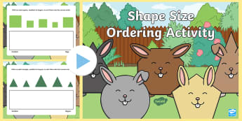 Shape Size Ordering Activity  PowerPoint - Shape Size Ordering Activity  PowerPoint - shape, size, order, IWB, shaoe, seriation, ordering, size