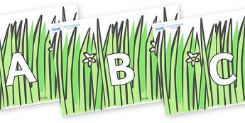 A-Z Alphabet on Wavy Grass - A-Z, A4, display, Alphabet frieze, Display letters, Letter posters, A-Z letters, Alphabet flashcards