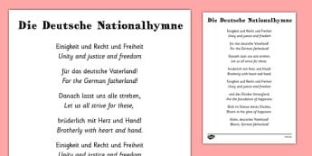German National Anthem Sheet with Translation - german, national anthem, sheet, translations