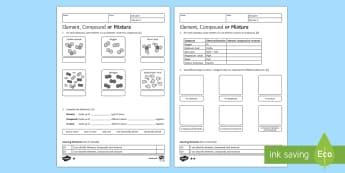 KS3 Element, Compound or Mixture Homework Activity Sheet - Homework, element, compound, mixture, bond, chemical, formulae, formula, atom, atoms