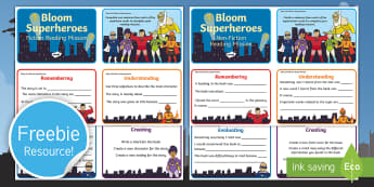 Bloom's Taxonomy - First Level Reading Challenge Cards - CfE Blooms Taxonomy, First, reading, guided, after reading, during reading, generic questions, quest