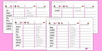 Phase 5 High Frequency Words Writing Practice Worksheets - phase