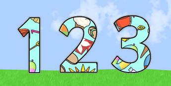 Summer Themed Display Numbers - summer, display numbers, summer display numbers, numbers, numbers for display, display, display numbers, summer numbers