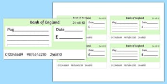 Maths Intervention Blank Cheque Templates - SEN, special needs, maths, money, counting money, recognising money, adding money, coins, notes