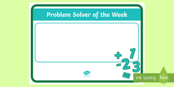 Problem Solver of the week A4 Display Poster - ROI Numeracy - Problem Solving,Irish