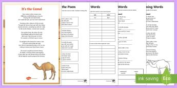 The Camel Poem Activity Pack - UAE, ADEC, MOE, animals, camel, desert, poem, activity sheets, emirates, sand, rhyme, rhyming words,