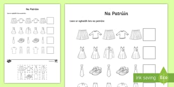 Clothes Patterns Cut and Paste Activity Sheet Gaeilge - ROI, Clothes, Gaeilge, colour, vocabulary, vocab, words, phrase, language, Éadaí, pattern, sequenc