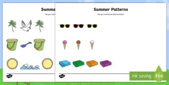Summer Patterns Activity - holidays, end of year, repeating, continue, maths, colour