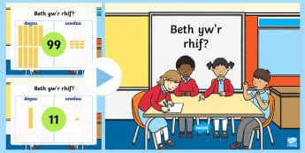 Pwerpwynt Beth yw'r rhif? - What is the number, degau, unedau, tens, units, cyfri, counting,Welsh-translation
