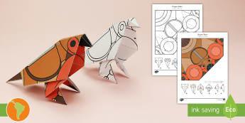 Simple Origami Robin Winter Christmas Paper Craft US English/Spanish (Latin) - Robin, paper craft, 3D, 3D paper craft, 3D model, waitrose advert, British wildlife, spanish, esl, e
