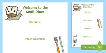 The Snail Diner Menu Activity - Snails, Shell, Snailery, Mollusc, Living Things,Irish
