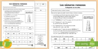 Los números romanos. Trabajando con los años. Ficha de actividad  - años, personajes históricos, reto, matemáticas, números romanos, símbolos,Spanish