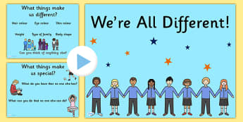 We're All Different PowerPoint - we're all different, powerpoint, diversity, discussion starters, group discussion, class discussion, feelings, emotions