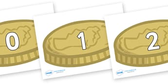 Numbers 0-31 on Coins - 0-31, foundation stage numeracy, Number recognition, Number flashcards, counting, number frieze, Display numbers, number posters