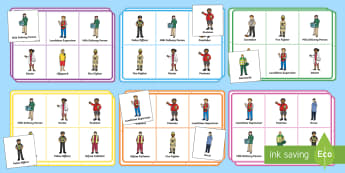 People Who Help Us Bingo - Bingo, activity, game, People who help us, Role play, Role Play masks, Doctor, Nurse, Teacher, Police, Fire fighter, Paramedic, Builder, Caretaker, Lollipop, Traffic Warden, Lunchtime supervisor, lunch time assistant