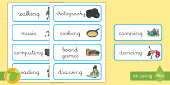 Tarjetas de vocabulario: Pasatiempos - Inglés - hobby, hobbies, lengua extranjera, activities, actividades,,Spanish-translation
