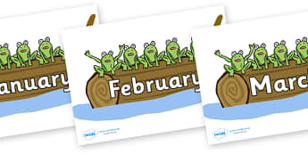 Months of the Year on 5 Speckled Frogs - Months of the Year, Months poster, Months display, display, poster, frieze, Months, month, January, February, March, April, May, June, July, August, September