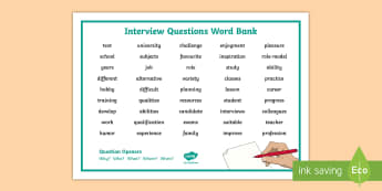 Interview Questions Word Mat Second Level CfE Word Mat - Vocabulary, CfE, Second, Level KS2, Report, Writing, language, English,