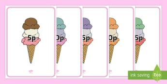 Money Ice Cream Mats - Money Ice Creams mats - foundation stage numeracy, Number recognition, Number flashcards, counting,