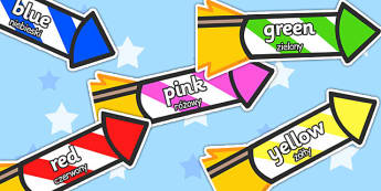 Colour Words on Rockets Polish Translation - polish, colour words, rockets, display