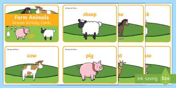 Farm Animals Drama Challenge Cards - CfE Drama, farm, animals, farmyard, cow, pig, sheep, dog, cat, pig, mouse, horse, donkey, hen, cocke