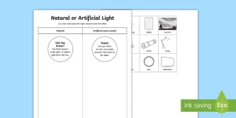 Natural or Artificial Light Activity Sheet - ACSSU020, light, manmade light, worksheet, Australia