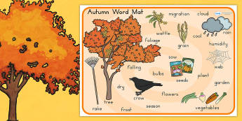 Autumn Word Mat - seasons, weather, keywords, visual aid, words