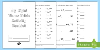 Eight Times Table Activity Booklet - CfE Multiplication Workbooks, eight, eight times table, multiplication calculations, MNU 1-03a, 8x t