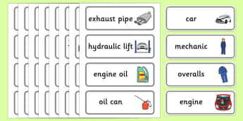 Car Garage Word Cards - car, garage, mechanic, fixing, fix, repair, overalls, engine, exhaust pipes, oil, petrol can, spanners
