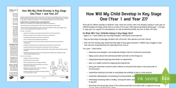 How Your Child Develops in Key Stage One Parent and Carer Information Sheet - help, advice, wellbeing, health, parents, child development, support, key stage 1, year 1, year 2, h