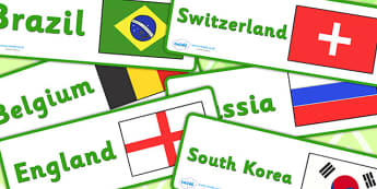 World Cup Country and Flag Labels - Football, Flag, World Cup, soccer, frieze, display, posters, nations, countries, flags
