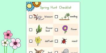 Spring Hunt Checklist - usa, america, spring, seasons, easter, hunt, easter hunt, objects hunt, can you see?, spring sensory walk checklist, walk checklist, spring walk checklist, spring hunt, spring search