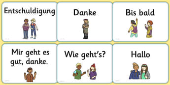 Greetings A5 Flashcards German - german, greetings, a5, flashcards, flash cards