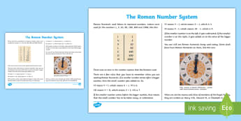 Roman Number System Information Sheet - CfE Numeracy and Mathematics, number, Roman Numerals, ancient number system, numeric system, past, i, overwriting