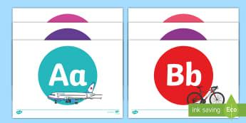 A-Z on Transport - Alphabet frieze, Display letters, Letter posters, A-Z letters, Alphabet flashcards, car, bus, lorry, plane, racing car, train