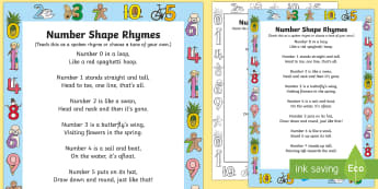 Number Shapes Rhyme - Maths, numbers, numeracy, numeral, number pictures, singing, song time