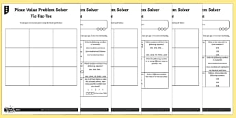 Place Value Problem Solving Tic-Tac-Toe Differentiated Activity Sheets - Number and Place Value, multiples, times tables, steps of, counting on, problem solving, maths maste