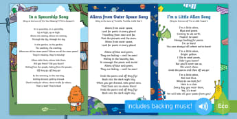 Songs and Rhymes Resource Pack to Support Teaching on Aliens Love Underpants  - EYFS, Early Years, Aliens Love Underpants, Claire Freedman, space, aliens.