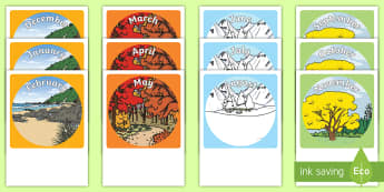 NZ Months and Seasons Display Cut Outs - New Zealand Back to School, seasons display, seasons, months of the year, posters