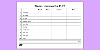 Spelling List Numbers 11-20 Activity Sheet - Irish, worksheet