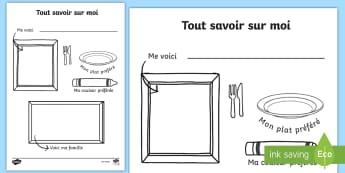 Feuille d'activité : Coloriage tout savoir sur moi - Dessin, mes goûts, portrait, ma famille, activité,French