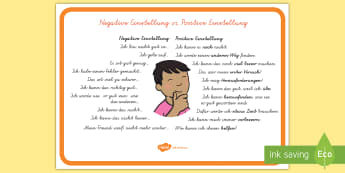 Negative Einstellung vs. Positive Einstellung Poster DIN A4 - positiv, negativ, Motivation, positive Gedanken, Mut machen,German