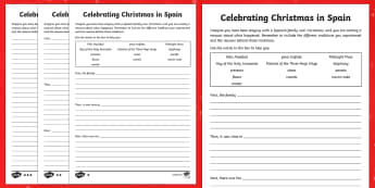 KS2 Celebrating Christmas in Spain Differentiated Writing Frames - Christmas, Nativity, Jesus, xmas, Xmas, Father Christmas, Santa, St Nic, Saint Nicholas, traditions,