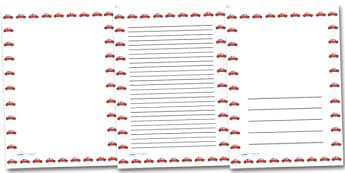 Red Car Portrait Page Borders- Portrait Page Borders - Page border, border, writing template, writing aid, writing frame, a4 border, template, templates, landscape