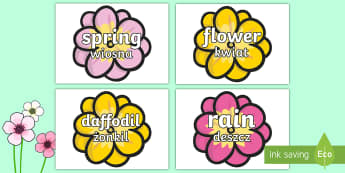 Spring Words on Flowers English/Polish - Spring Words On Flowers - spring, flowers, word cards, flashcards, cards, words, blossom, seasons, s
