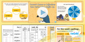PlanIt Spelling Year 5 Term 2B W6: Convert Nouns or Adjectives into Verbs Using the Suffix  -en Spelling Pack - year 5, y5, spelling, weeks, weekly, suffix, suffixes, lists, spag, gps, Convert Nouns or Adjectives