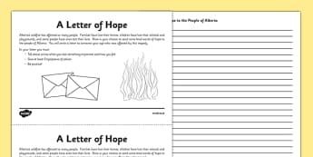 Alberta Wildfire Letter Writing Activity Sheet - Alberta, wildfire, fire, natural disaster, writing, letter, worksheet