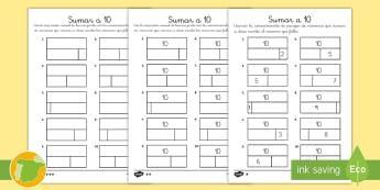 Ficha de actividad: Sumar a 10 - Gráfico de barras - gráfico de barras, barras, sumar, sumas, adición, hasta 10, enlaces numéricos, parejas de número